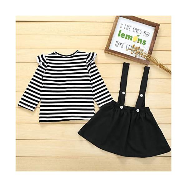 Conjuntos para bebés, Invierno Niños pequeños Bebés Niñas Camiseta de Manga Larga a Rayas Tops Correa Tirantes Faldas… 4