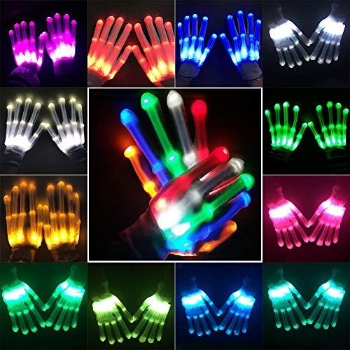 URMAGIC LED Leuchtende Handschuhe blinkende Bunte Finger Gloves Coole Spielzeuge Skeleton Tanzen Halloween Weihnacht Zauberhafte 12 Farbe Licht Unisex als Geschenke Weihnachten Geburtstag Karneval