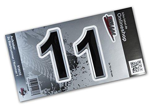 Startnummer-Aufkleber 3D - 910035 - 2x Nummer 1 Set Silber - Motorrad Auto Fenster ca. 34 x 73 mm, große Zahlen, exzellenter Wetterschutz, keine billigen Folienaufkleber (Aufkleber, Zahlen Großer)
