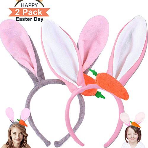 AMENON 2 Pack Osterhasenohren Stirnband Plüsch Karotte Kaninchenohren Hüte Haarbänder Headwear Ostern Geschenke für Kinder Jungen Mädchen Kinder Frauen Ostern Party Favors Hair Cosplay Kostüm ()