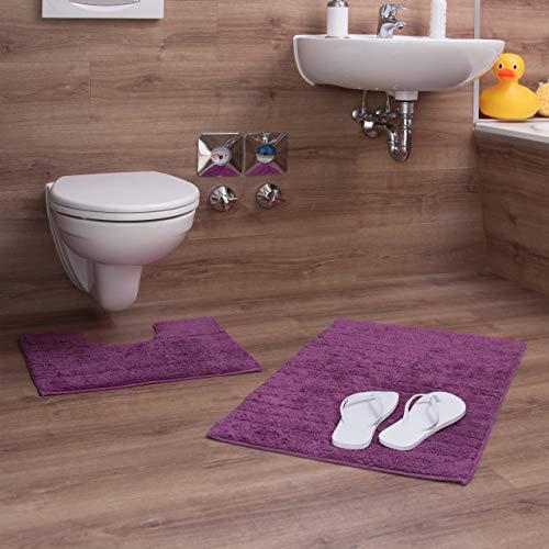 Relaxdays Badgarnitur 2-teilig, Streifen-Design, Für Fußbodenheizung, Waschbar, Badematte und WC-Vorleger, Für Stand-WC, 80 x 50 cm, lila / beere