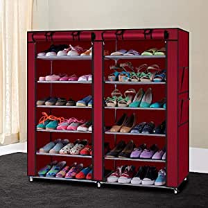 H M Retail Multipurpose Portable Folding Double Dustproof and Damperproof 12 Tiers Shoes Rack with Cover for Home (Multi Color)