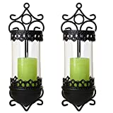 SIDCO ® 2 Wandleuchter Kerzenhalter Wandkerzenhalter Windlicht Metall Barock Gartendeko