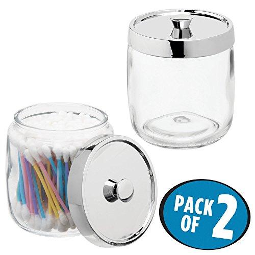mDesign Juego de 2 algodoneros de cristal – Frasco para guardar discos de algodón, bastoncillos y bolas de algodón con tapa de plástico – Elegante dispensador de algodón – transparente/plateado