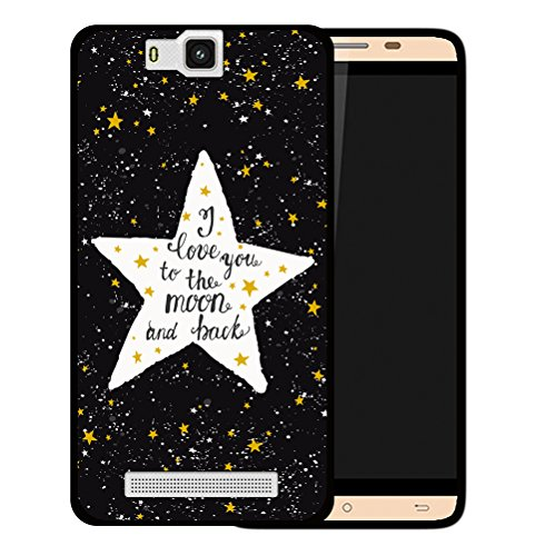 Cubot H2 Hülle, WoowCase Handyhülle Silikon für [ Cubot H2 ] Star Satz - I Love You To The Moon And Back Handytasche Handy Cover Case Schutzhülle Flexible TPU - Schwarz