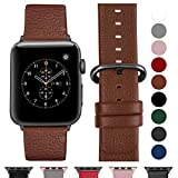 Fullmosa Ersatzband für Apple Watch Armband 42mm und 38mm, Echtes Leder Uhrenarmband für Iwatch Watch Series 3,2,1, Nike+ Hermes&Edition,38mm Braun+graue Schnalle