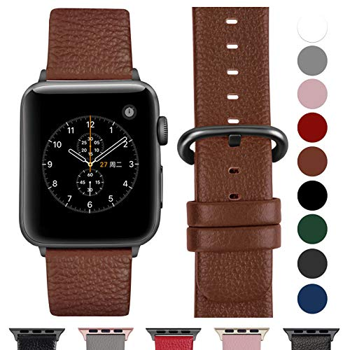 Fullmosa Ersatzband für Apple Watch Armband 42mm und 38mm, Echtes Leder Uhrenarmband für Iwatch Watch Series 3,2,1, Nike+ Hermes&Edition,42mm Braun+graue Schnalle