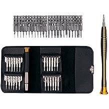 Juego de destornilladores de precisión con cabezales intercambiables 25 en 1 - Juego de herramientas que permiten abrir para su reparación teléfonos móviles, ordenadores portátiles, MacBooks, tablets, ordenadores, talleres electrónicos, reparación de relojes y gafas