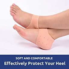 IZZORI Vented Moisturizing Silicone Heel Socks for Swelling, Pain Relief, Cracked Repair, Foot Care Support Pads for Unisex (Skin, B07B7QB1R3)