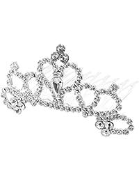 joyliveCY Boda Novia Dama flor Niñas Rhinestone pelo peines princesa corona