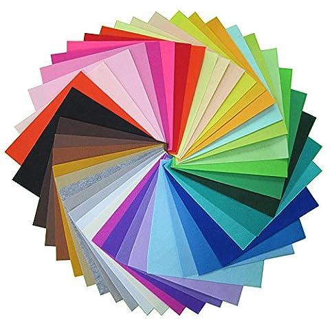 Caxmtu Tissu non tissé Polyester Feutre Home Decor Motif Bundle pour couture Poupées Crafts 40-pack 15x 15cm 1mm d'épaisseur