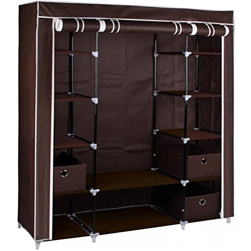 large-brown-fabric-canvas-bedroom-wardrobe-with-hanging-rail-shelving-clothes-storage-cupboard-unit