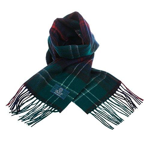 CLANS OF SCOTLAND - Bufanda de lana pura, diseño de cuadros escoceses -  -  talla única