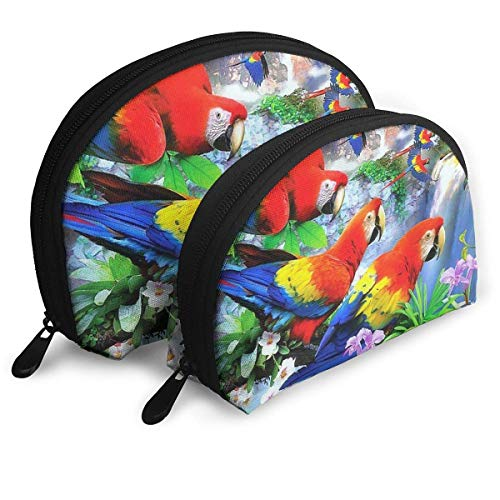 Portable Shell Makeup Storage Bags Beautiful Forest Parrots Painting Travel Waterproof Toiletry Organizer Clutch Pouch for Women