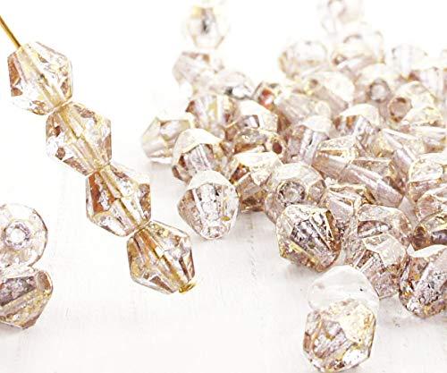 20pcs Kristall Klar-Gold-Regen Gesichtet Bicone Facettierten feuerpoliert Tschechische Glas Perlen 6mm - Tschechische Kristall Gläser