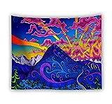 XIAOBAOZIGT Arazzo Psichedelico Picco di Montagna Appeso A Parete Decorazione della Parete della Tenda Divano Tavolo Coperto Coperta da Spiaggia Asciugamano da Picnic Decorazione della Casa 150×230Cm