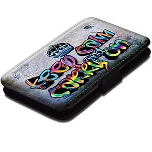 Keep Calm 10003, Keep Calm And Carry On, Noir Coque Housse Pochette Cover Coquille en Cuir avec Dessin Coloré et Fermeture Noir Magnetique pour Samsung Galaxy S3 Mini