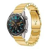 DAYLIN Correa para Huawei Watch GT de Acero Inoxidable Reloj Pulsera Actividad Inteligente Watch Band Repuesto de Correa de Reemplazo Wristband Reloj Banda Deportiva Watch Strap 22mm (Negro/Dorado)