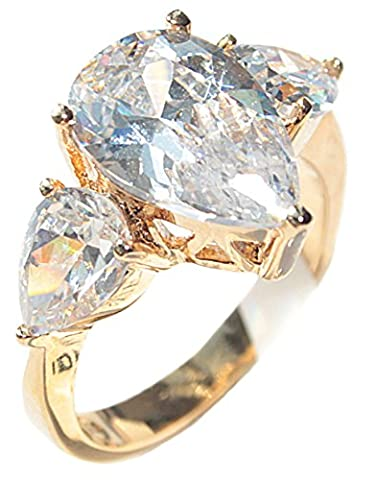 Ah! Jewellery! Women's Stunning Gold Filled 18 Kt Ring. Flawless 8mm Pear Cut Simulated Diamond Centre Stone. UK Guarantee: 3µ / 10 years. 4.0GR Total Weight. Outstanding