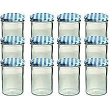 12er Set Sturzglas 435 ml Marmeladenglas Einmachglas Einweckglas To 82 blau karrierter Deckel