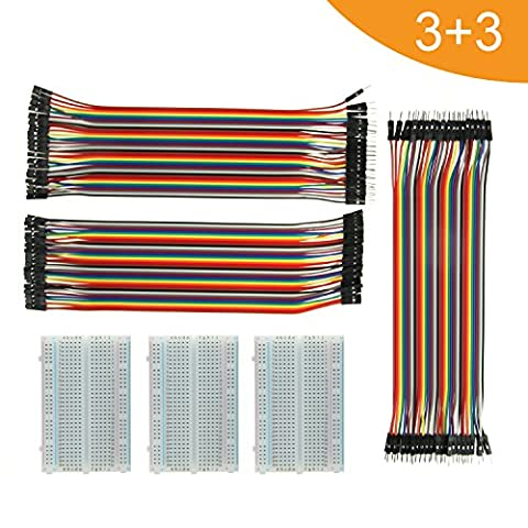 Breadboard Solderless With Jumper Cables– ALLDE BB-018 3Pc 400 Pin Prototype PCB Board and 3Pc Dupont Jumper Wires (Male-Female, Female-Female, Male-Male) for Raspberry Pi and Arduino