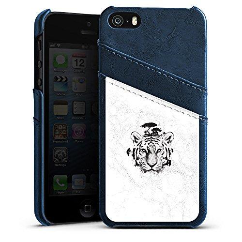 Apple iPhone 5s Housse Étui Protection Coque Blanc Blanc Tigre Étui en cuir bleu marine