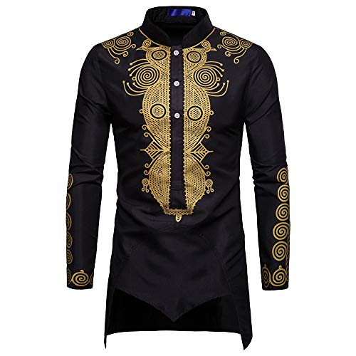JYJM 2019 männer Herbst Winter Luxus Afrikanischen Print Langarm Dashiki Shirt Top Bluse Herren T-Shirt Basic Rundhals Slogan Herren T-Shirt mit Frontprint und Rundhalsausschnitt - Farbmix Blau