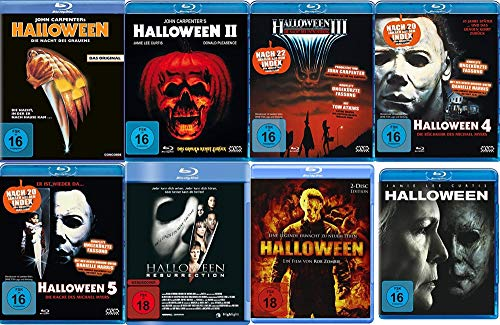 HALLOWEEN - DIE NÄCHTE DES GRAUENS - Teil 1 2 3 4 5 + Resurrection + Remake + 2018 - Michael Myers 8 Blu-Ray Collection