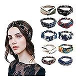 LZHOO 10 Stück Damen Stirnband Kopfband Stirnbänder Haarspange Haarband Headband elastische Blume gedruckt Sportliche