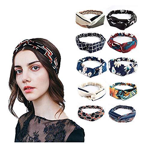 Preisvergleich Produktbild LZHOO 10 Stück Damen Stirnband Kopfband Stirnbänder Haarspange Haarband Headband elastische Blume gedruckt Sportliche