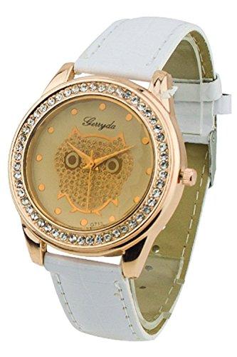 TOOGOO (R) Dame Getoentes Glas Eule Guertel Uhr Kristall Verzierte Quarz Armbanduhr mit weisser Band