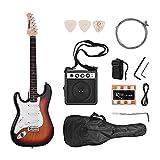 ammoon Guitarra Eléctrica Madera Maciza Paulownia Body Cuello de Arce 21 Trastes 6 Cuerdas con Altavoz Diapasón Bolsa de Guitarra Selecciones de Correa Mano Izquierda (Sunburst)