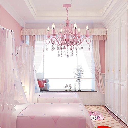 JILAN HOME- Europäischer Stil Ländlicher Eisen Kronleuchter Kinderzimmer Prinzessin Zimmer Rosa Mädchen Romantische Warme Schlafzimmer Wohnzimmer Beleuchtung Kristall Dekoration E14 -