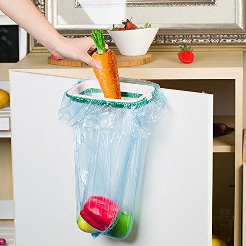 Hängeschrank Schrank Trash Tasche Halter Heckklappe Ständer Portable Speicherlösung Garbage Trash Rack für Küche grün und weiß (Mülleimer-beutel-halter)