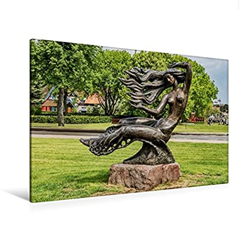 Premium Textil-Leinwand 120 cm x 80 cm quer, Bronze-Skulptur der
