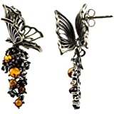 Baltic Honey Amber Sterling Silver Butterfly Shaped Stud Earrings