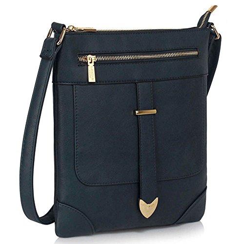 Damen Designer-Handtaschen Stilvolle Faux Leder Frauen Taschen Mit Schnalle Umhängetaschen A-Marine Kreuz Körper Tasche