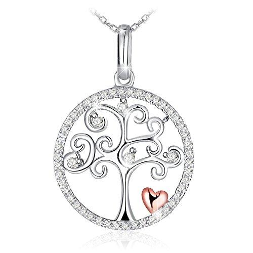 J.Rosée Collar Mujer Plata de Ley 925 Brillante Circonita 'Árbol de la vida' Corazón Rosa Cadena 45cm-50cm con Hermosa Caja de Regalo
