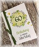 Einladung Einladungskarte Blätter runder Geburtstag 40 50 60 70 80 90 Tischdeko personalisierbar grün