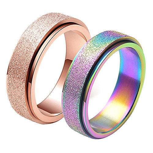 LANHI Set of 2, Unisex's 6mm Stainless Steel Spinner Ring Matte Sand Blast Finish Size 11