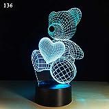 Neues kreatives plug-in des fernsteuerungslichtes buntes 3d führte bunte Lichter des Nachtlichts Tischlampe Geschenk