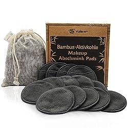 Valere + Abschminkpads waschbar - Bambus-Aktivkohle, Umweltfreundliche Wattepads, Nachhaltige Materialien - Für eine gründliche Gesichtspflege - Zero Waste - Inkl. Waschbeutel - 14 Stk.