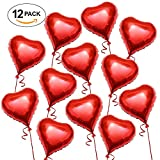 The Twiddlers Valentine's Day - Large Red Heart shaped Romantic Love Foil Balloons, Helium Air Filled, 45 CM in Siz - Gift Surprise, Wedding, Engagement, Anniversary and Party Decoration (Pack of 12)