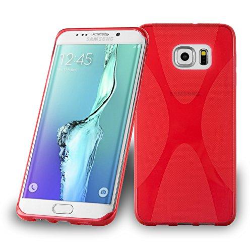 Preisvergleich Produktbild Cadorabo Hülle kompatibel mit Samsung Galaxy S6 Edge Plus Hülle in Inferno ROT Handyhülle aus flexiblem TPU Silikon im X-Line Silikon Schutzhülle