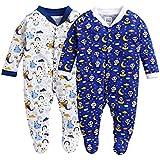 MINITATU Boy's Full Sleeve Unisex Baby Sleepsuit Pack of 2 Regular and Toddler Sleepers