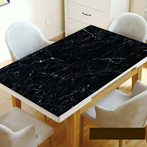 WAYMX Marmor Schwarz Tischtuch Nachahmung Dali Stein Muster Tischset Wasserdichte Anti-heiße Öl Pvc Weichen Glas Esstisch Kaffee Tischdecke Dicke 1,5mm, 60*60cm (Dali-tischset)