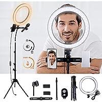 K&F Concept Ring Light, Luce ad Anello LED 5500K, Luce Anello Dimmerabile con Treppiedi 140cm e clip per Microfono e Telefono, Smartphone, Youtube, Vine, Autoritratto