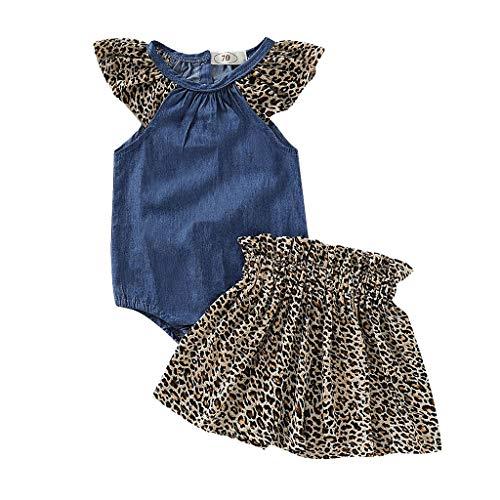 Baby Mädchen Kleidung, Neugeborenes Baby Mädchen Kinder Kurzarm Blumen Print Wort Schulter Rüschen Top + Shorts Rock Zweiteiler Sätze 2pcs (70, ()