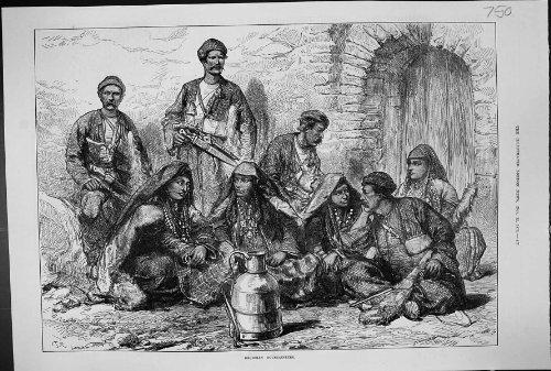 SZENEN-GEORGISCHER BERGSTEIGER-LEUTE-KOSTÜM-ANTIKEN-DRUCK 1873