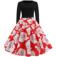 SSMEMG Christmas Dress Vintage Santa Claus Print Christmas Evening Party Dress A-Line Swing Dress